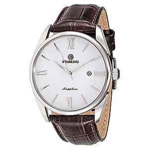 Starking Men's White Dial Leather Band Watch - BM0856SL91
