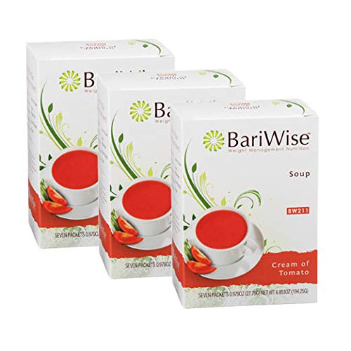 (BariWise High Protein Low-Carb Diet Soup Mix - Low Calorie, Cream of Tomato - 3 Boxes Value Pack)