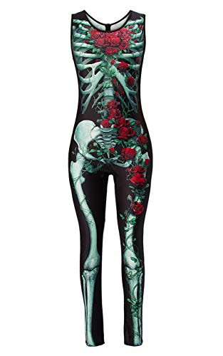 TUONROAD 3D Zombie Printed Halloween Skeleton Costumes Gloomy Black Green Vine Red Rose with White Bones One Piece Leotard Jumpsuit Catsuit for Young Girls Adult Female Womens Ladies -