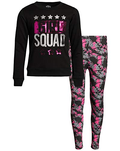 My Destiny Girls 4-Piece Fashion Top and Legging Pant Set, Girl Squad, Size 14/16