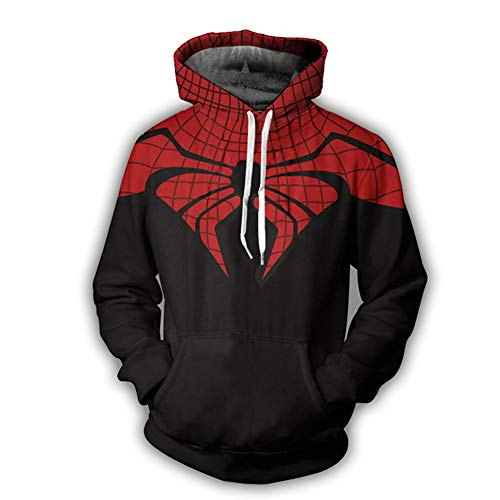 (GERGER BO Men's 3D Digital Print Spiderman Pullover Hoodie Hooded Casual)
