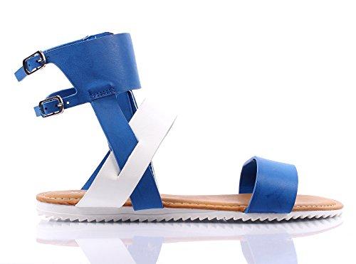 Bambou Décontracté Lanière Boucle Latérale Gladiateur Femmes Sandales Dété Chaussures Nouveau Sans Boîte Bleu Multi