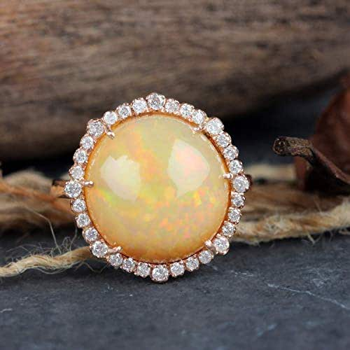 Natural 0.32 Ct Pave Diamond Opal Gemstone Cocktail Ring Solid 14k Rose Gold Wedding Fine Jewelry Valentine Day Special Gift