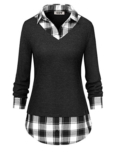 Women's 2-in-1 Style Shirt, DJT Plaid Lapel Collar Curved Hem Checker Pullover Sweatshirt T-Shirt Tops S Grey