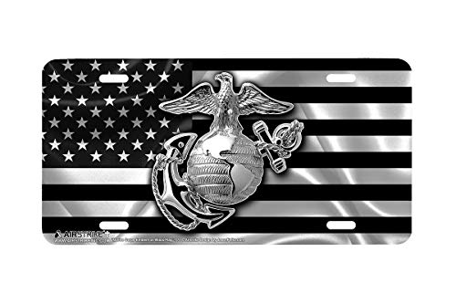 Airstrike USMC Black Flag License Plate Marines License Plate-Marine Corps Emblem on Black Made in USA Metal License Plate-774