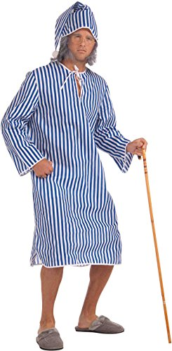 Forum Novelties Men's Scrooge Costume Nightshirt, Blue/White, Standard -