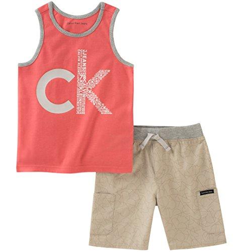 Calvin Klein Boys' Little 2 Pieces Tank Top Shorts Set, Khaki, 6