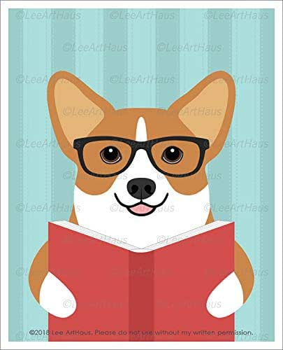 Amazon.com: 629D Corgi Dog Wearing Glasses Reading a Book