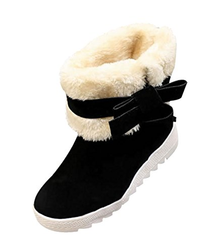 T&Mates Womens Fashion Side Zipper Faux Suede Fur Platform Hidden Wedges Ankle High Snow Boots Black Y7qaGmklL