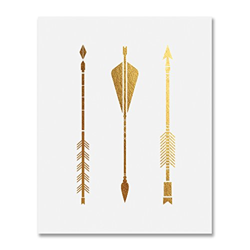 Three Arrows Gold Foil Print Tribal Aztec Bohemian Boho Chic Decor Metallic Poster Modern Wall Art 8 inches x 10 inches B14