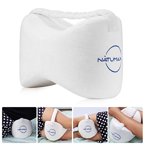 NATUMAX Knee Pillow for Side Sleepers - Sciatica Pain Relief - Back Pain, Leg Pain, Pregnancy, Hip and Joint Pain Memory Foam Leg Pillow + Free Sleep Mask and Ear Plugs - White