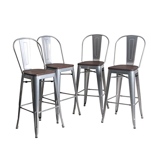 YongQiang Metal Barstools Set of 4 Indoor Outdoor Bar Stools High Back Dining Chair Counter Stool Cafe Side Chairs with Wooden Seat 30 Silver