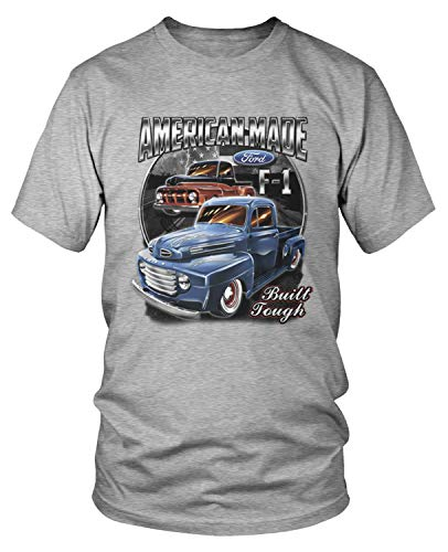 Amdesco Men's Ford Classic Trucks F-1 T-Shirt, Heather Gray Large ()