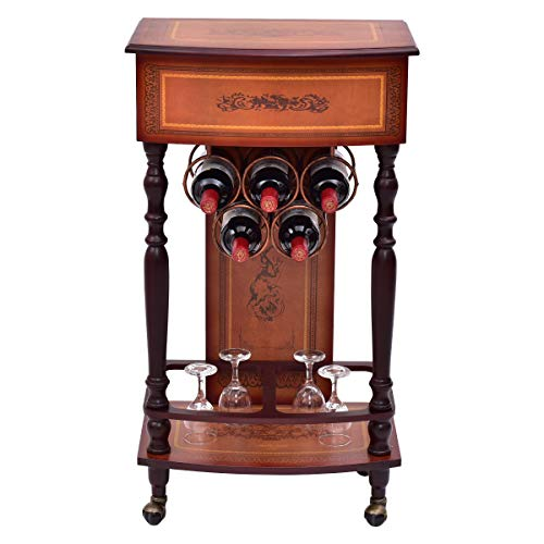 Giantex Rolling Vintage Wood Wine Cabinet Bar Stand Storage Holder Liquor Bottle Shelf