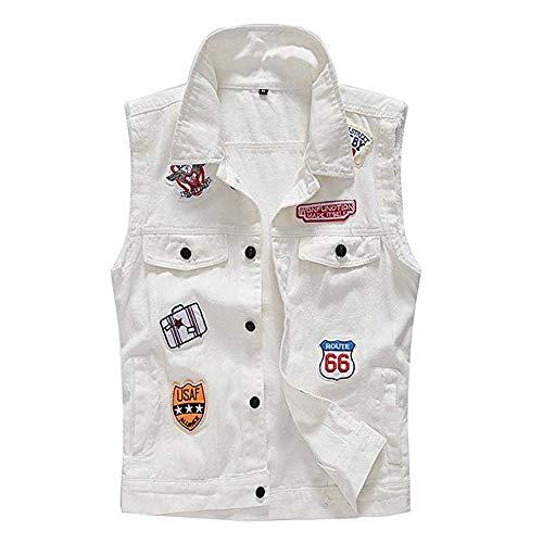 - Vintage Men Wash Denim Vest Jacket Fashion Holes Ripped Patch Coat Sleeveless Punk Denim Tops White (US XL)