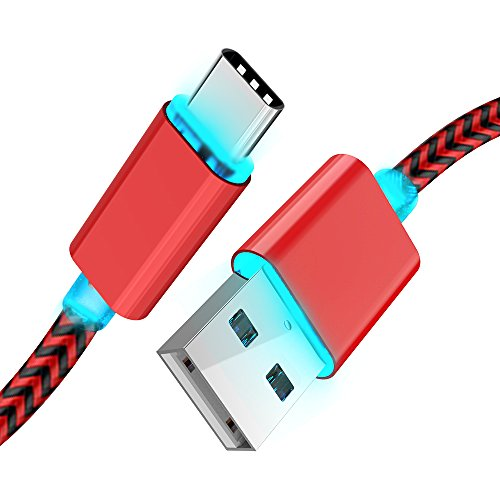 LED Light-up USB Type-C Cable - 6FT USB A 2.0 to USB-C Fast Charger Nylon Braided Cord for Samsung Galaxy S9 S8 Plus Note 8, Moto Z Z2,LG V30 V20 G5 G6,Google Pixel 2 XL, One Plus 5 3T 2 and More
