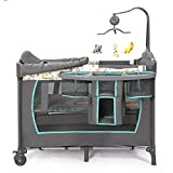 Newborn to Toddler Rocker Comfort Rocking Chair Standalone Bassinet Portable Playgaround Sweet Dreams Cradle Beds Convertible Crib Toddler Beds Rail Guard with Reinforced Anchor Safety Suitfor 0 4 Yea