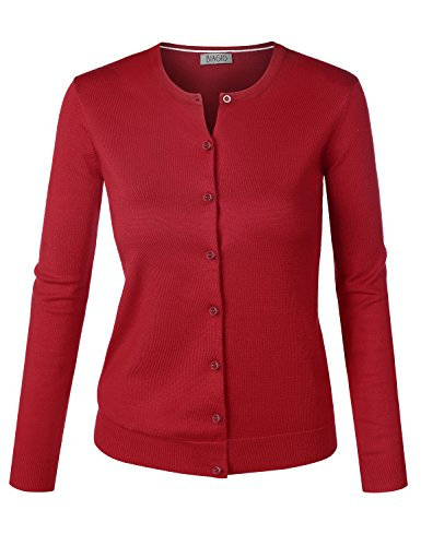 BIADANI Women Round Neck Button Down Soft Classic Knit Cardigan Sweater Red Large