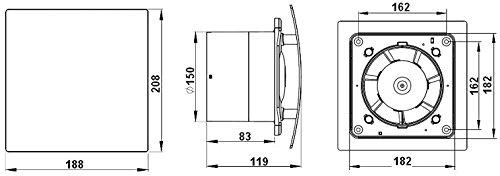 /Ø 150 mm Design Badventilator hochglanz wei/ß mit Zugschalter und R/ückstauklappe WEB150W L/üfter Ventilator Front Wandl/üfter Badl/üfter Ventilator Einbaul/üfter Bad K/üche leise 15 cm