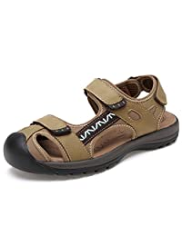 SUNROLAN Alivin Men's Athletic Outdoor Sports Closed-Toe Sandals Hiking Water Fisherman Sandals