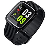 CZYCO Light and Soft Smart Watch Blood Pressure Heart Rate Monitor Sleep Sports Fitness Tracker (Black)
