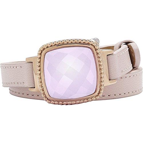 Activity Fitness Tracker + Mobile Alerts + Storage Smart Jewelry Bracelet for Women, Pink Leather by Ela Fine Tech