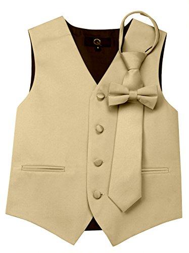 Champagne Tuxedo Vest - Brand Q Boy's Tuxedo Vest, Tie & Bow-Tie Set- Champagne-6