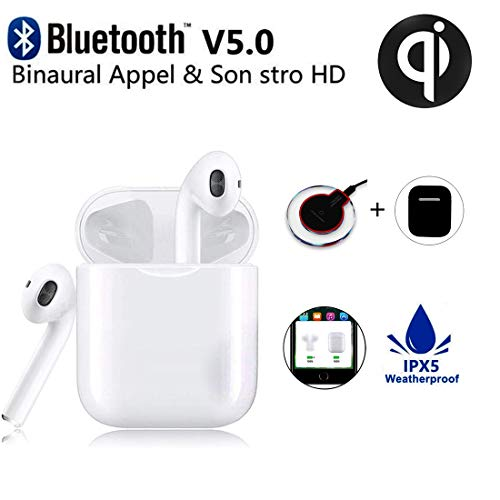 Bluetooth Headsets Wireless Earbuds, in-Ear Sports Waterproof Headphones, Wireless Charger Box Qi 3D Stereo Surround Headphones,Long Standby, for Apple Airpods 2 Android Samsung White