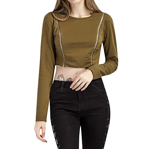 Luckycat Camiseta de Mujer con Cremallera Casual Tops de Manga Larga Blusa: Amazon.es: Ropa y accesorios