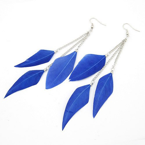 Leiothrix Nutural Feather Alloy Earrings in Navy Blue for Women and Girls Apply to Wedding Party Casual