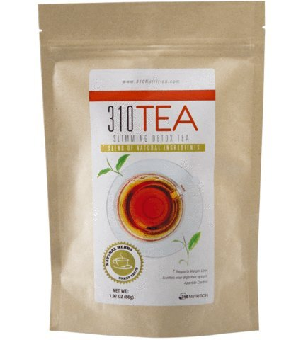 310 Nutrition, 310 Tea Slimming Detox Organic Green Tea with Yerba Mate, Guarana, and More Natural Ingredients, Comes with Free eBook! (Green Tea, 28 Servings)