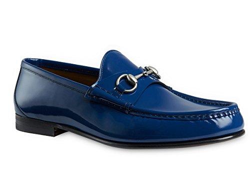 Gucci-Mens-Blue-Bushed-Leather-Horsebit-Loafers-Shoes
