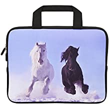 """10"""" 11"""" 11.6""""-12"""" Inch Netbook/ Laptop / Chromebook / MacBook Ultra-Portable Neoprene Zipper Carrying Bag Sleeve Briefcase Pouch Bag ToteW/ Outside Handle (Cool Runng horses)"""