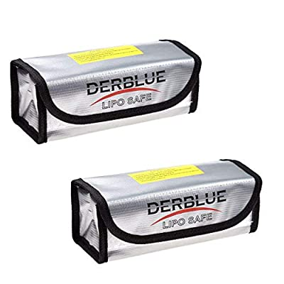 DerBlue 2pcs Fireproof Explosionproof Lipo Battery Safe Bag Lipo Battery Guard Safe Bag?185x75x60mm?
