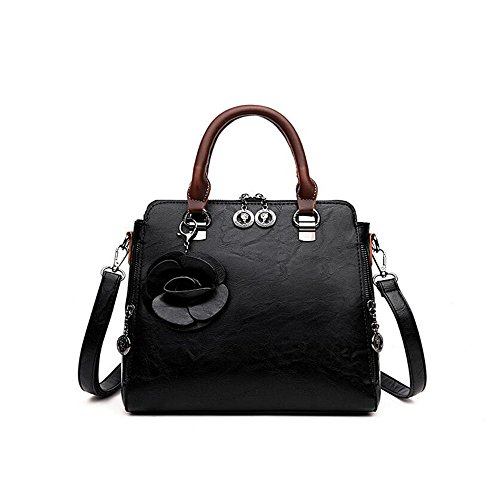 Collection pour Bag Sac à WENMW femme Catwalk main à en bandoulière Noir cuir Sac Shoulder Large URHHATq5