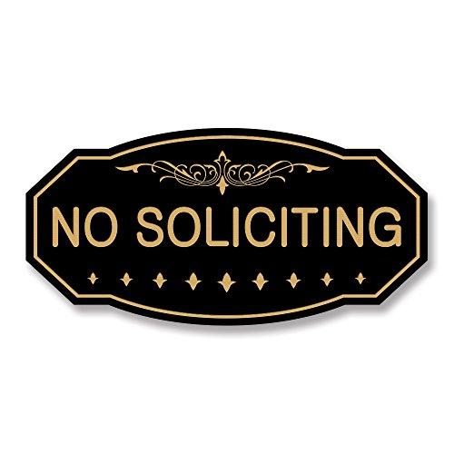 NO SOLICITING Victorian Door/Wall Sign (Black/Gold) - Small 3