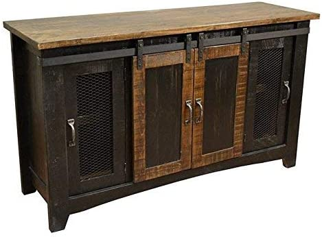 Amazon Com Anton Black Finish 80 Rustic Sliding Barn Door Tv Stand