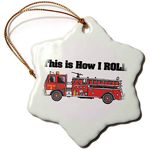 Dozili Christmas Tree Decoration This is How I Roll Fire Truck Firemen Design 3 inch Ceramic Ornaments Merry Gifts ()