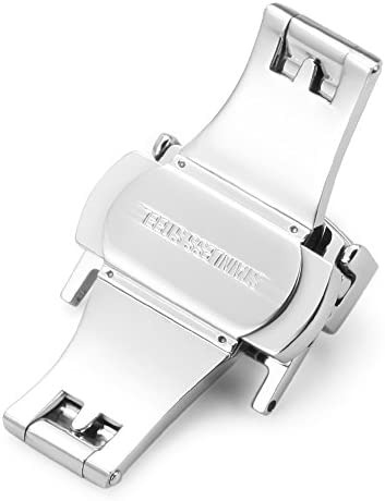 Nywing Dバックル10mm 12mm 14mm 16mm 18mm 20mm 22mmスチール腕時計バンドプッシュ式Dバックル 時計尾錠 時計両開き/観音開き尾錠ゴールデン シルバー ローズゴール ブラック デンバネ棒/バネ棒はずし付