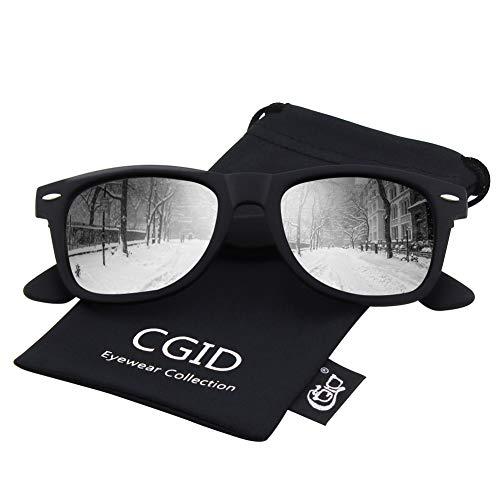 - CGID Classic Eyewear 80's Retro Large Horn Rimmed Style UV400 Polarized Sunglasses,Matte Black Silver