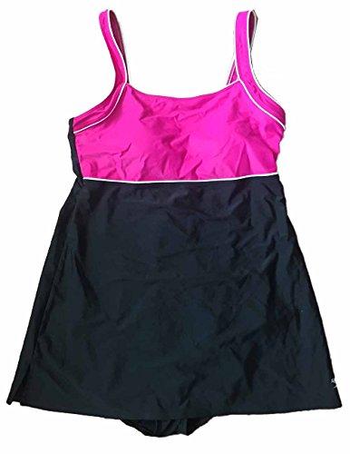 New Speedo 1-Piece Swim Dress. Black/Pink. With Build-In Bra For Support. Size: 14