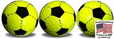 GBM Golf Soccer Ball yellow golf balls 3 Pack with a black, full wrap, imprint