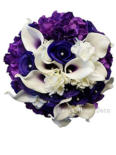 Sweet Home Deco Real Touch Calla Lily Wedding Bride Bouquet/Boutonniere/ Corsage Artifiial Flower Wedding Flower Package (Purple-Hand Tied)
