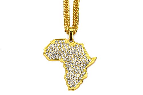 Aiyo Nice Hip Hop Jewelry 75cm Long Chain Platinum 18K Gold Plated African Map Pendant Necklace (C-Gold) by Aiyo Nice