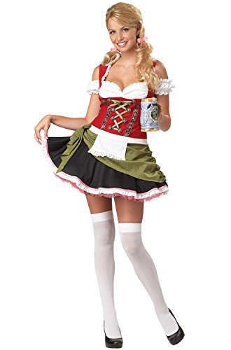 California Costumes Bavarian Bar Maid Set, Red/Olive, Large