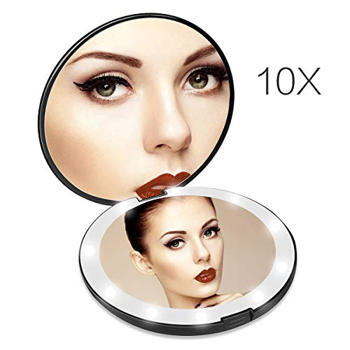 Lighted Travel Makeup Mirror, 1x 10x Magnifying Mirror, Handheld Folding Compact Mirror with LED Lights for Cosmetic, Camping, Personal Use and Travel