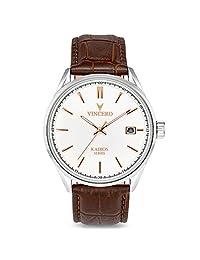 Vincero Kairos Reloj - Banda de Cuero Italiana - Reloj de Vestido 42mm - Movimiento de Cuarzo Japonés (Blanco/Oro Rosa)