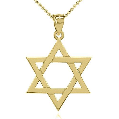 Collier Femme Pendentif Solide 14 Ct Or Jaune Juif Étoile De David (Large) (Livré avec une 45cm Chaîne)