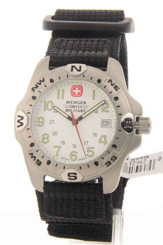 Wenger Swiss Made Mens Analog Round Steel Watch Black Nylon Strap 79154