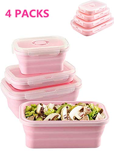 Set of 4 Collapsible Food Storage Containers with Lids Portable Silicone Food Containers Microwave Freezer Safe Lunch Box Bento Box Folding Outdoor Picnic Travel Food Containers(Pink)